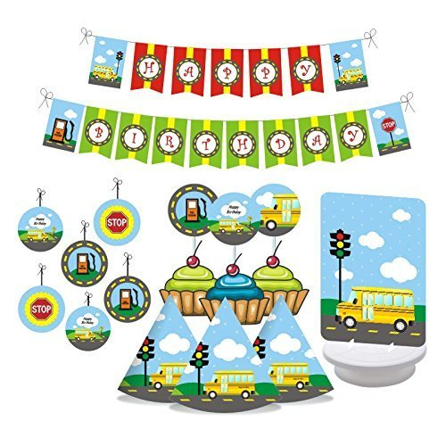 (Wheels on the BUS Birthday Party Decorations. Includes Party Hats, Centerpieces, Bunting Banner, Danglers and Cupcake Toppers)