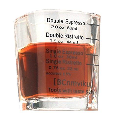 BCnmviku Espresso Shot Glasses Measuring Cup Liquid Heavy Glass for Baristas 2oz for Single Shot of Ristrettos (2 pack) by BCnmviku (Image #2)