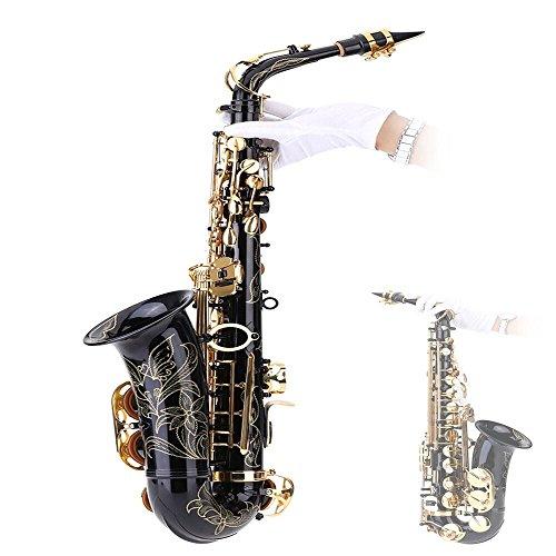 Andoer® bE Alt Saxophon Blech Lackiertes Goldenes E Flache Sax 82Z Taste Typ Holzblasinstrument mit Reinigungsbürste Stoffhandschuhe Korkfett Bügel Gepolsterter Kasten