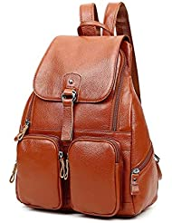 Backpack Purse Genuine Leather Retro Casual Traveling Daypacks for Women Girls
