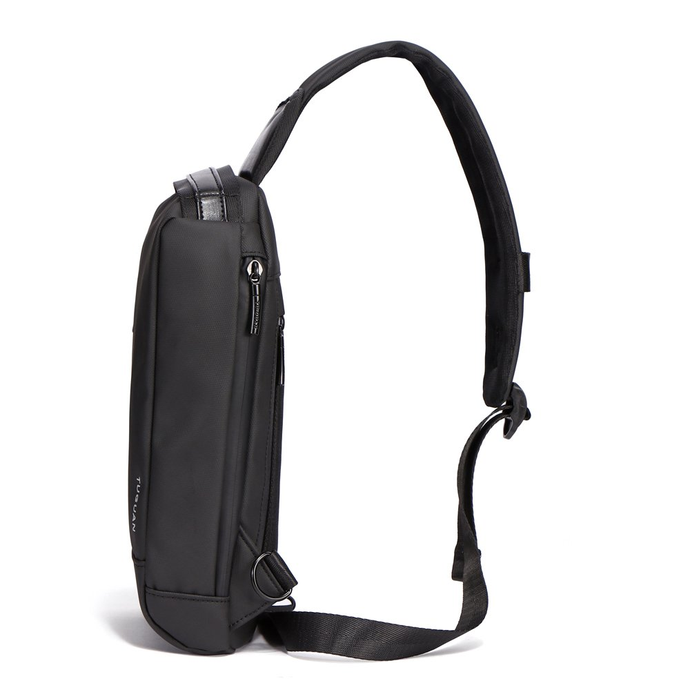 Tuguan Men Waterproof Outdoor Crossbody Bag Cycling Bag Chest Bag Black