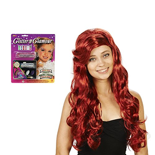 [Red Mermaid Adult Wig and Glitter Makeup Bundle Set] (Ariel Tail Costumes)