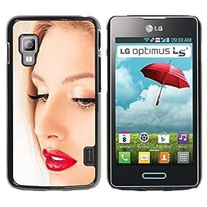 TopCaseStore / la caja del caucho duro de la cubierta de protección de la piel - Face Portrait Blonde Woman Red Lips Eyes - LG Optimus L5 II Dual E455 E460