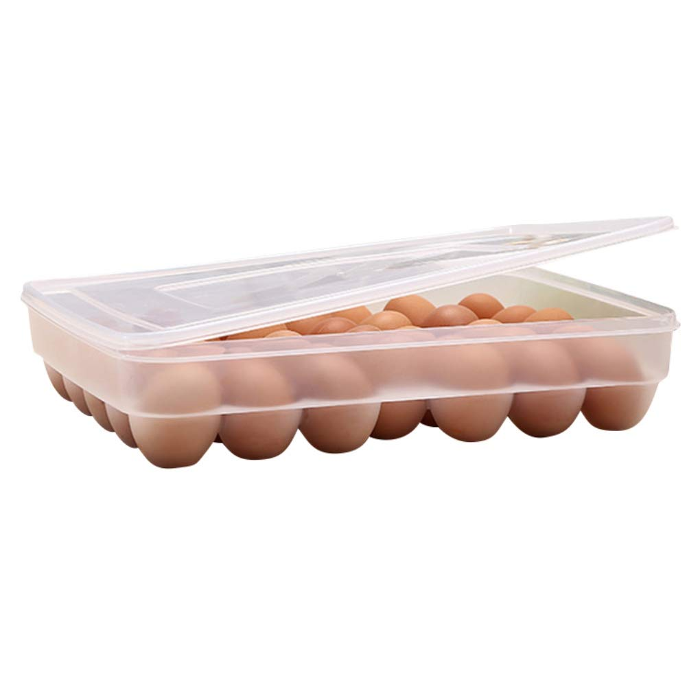 Leezo 34 Eggs Holder Box with Lid Refrigerator Storage Organizer Container Tray for Eggs Fresh Keeping Home Kitchen Tool Transparent