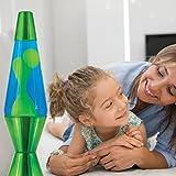 14.5-Inch Metallic Lava Lamp with Metallic Base, Yellow Wax/Blue Liquid/Green