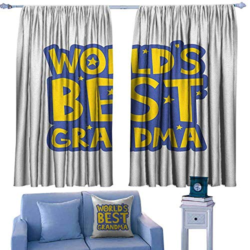 ParadiseDecor Grandma Boys Bedroom Backout Curtains Quote About Grandmothers with Yellow Letters Stars Uplifting Illustration,Printed Kids Nursery Curtain,W72 x L84 Inch