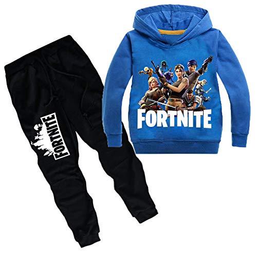 Bemarui Fortnite - Sudadera con Capucha y Pantalones para niños y niñas, Azul, 12