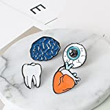 Kercisbeauty Funny Cartoon Cute Halloween Organs Enamel Brooch Pin Brain Tooth Eyeballs Heart Unisex Collar Pin Badge Birthday Gift for Her Cute Brooch Pins for Backpacks Set of 4