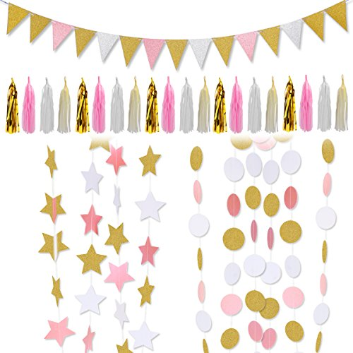 LeeSky Party Decoration Supplies,Circle Dots Hanging Garland,Tissue Tassel Garland,Vintage Style Pennant Banner,Twinkle Star Banners for Party Decorations Supplies (Glitter Gold and Pink and White) by LeeSky