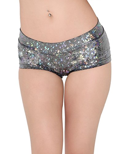 [iHeartRaves Hologram Rave Booty Shorts (Medium, Black)] (Black Full Cut Robe Costumes)