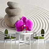 Zen Spa Stones and Orchid Wallpaper Mural