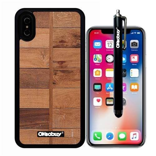 (iPhone X Case, Two Column Stitching Wood Texture Case, OkSoBuy Ultra Thin Soft Silicone Case for Apple iPhone X - Two Column Stitching Wood Texture)