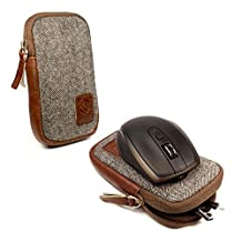 Tuff-Luv Herringbone Tweed Travel Case for Logitech Wireless mouse & MX Anywhere 1 & 2