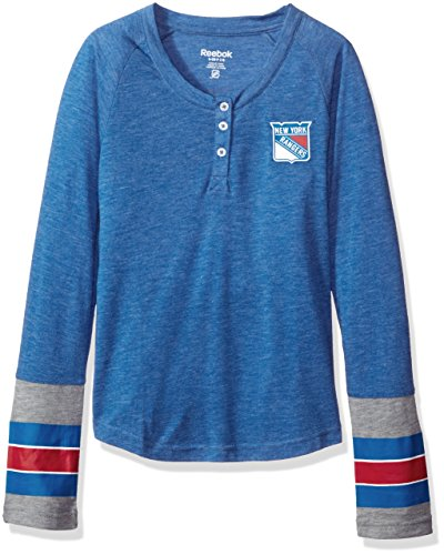 NHL Girls 7-16 Rangers Long Sleeve Jersey Striped Henley, S(7-8), Royal (Shirt Cincinnati Striped Reds)