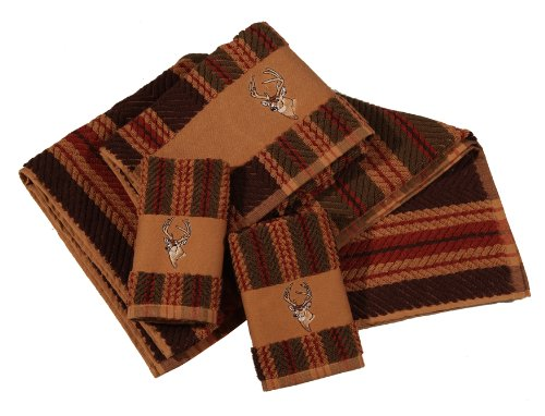 HiEnd Accents 3-Piece Deer Lodge Towel Set, (Deer Bath)