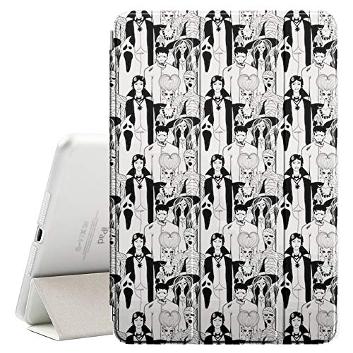 Compatible with Apple iPad Pro 10.5 (2017) - Leather Smart Cover + Hard Back Case with Sleep/Wake Function (Doodle Characters Halloween) ()