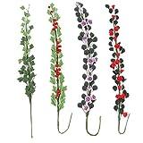 Homyl 4 Set 1/12 Dollhouse Miniature Clay Rose Flowers String Bunch Boston Ivy Fairy Garden Accessories