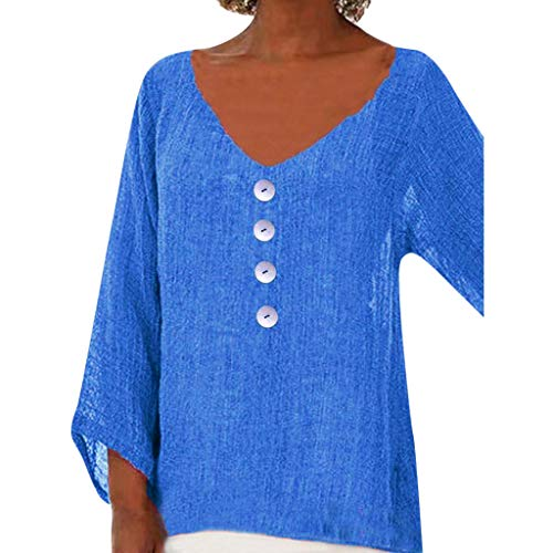 Tantisy ♣↭♣ Women's V-Neck Loose Tops Daily Casual Basic T-Shirt Ladies Blouse Blue]()