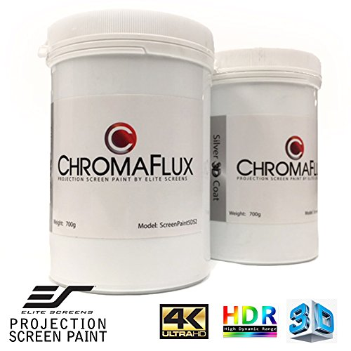 Elite Screens ChromaFlux Screen Paint, Up to 140 inch Diag. Water Base 3D/2D Ambient Light Rejecting Projector Screen Paint, ScreenPaint5DS2 by Elite Screens