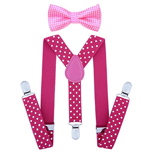 Child Kids Suspenders Bowtie Set - Adjustable Suspender Set for Boys and Girls(25Inches (5 Months to 6 Years),Rose red Polka dot) -