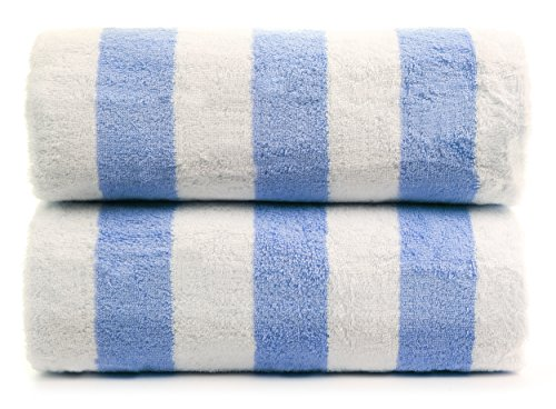 Premium Quality Large Hotel and Spa 2-Piece Beach Towels, Pool Towels with Cabana Stripe, Eco-friendly, Turkish Cotton (Blue, 30x60 inches) by Chakir Turkish Linens