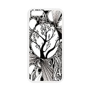 Sexyass Black and White Abstract with Trees IPhone 6 Plus Cases, Girl Protective Case for Iphone 6 Plus Cheap {White}