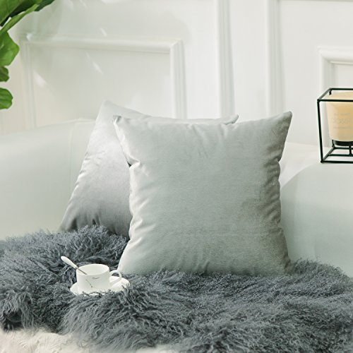 HOME BRILLIANT Set of 2 Plush Velvet Throw Pillow Covers Square Cushion Covers Set Decorative Pillowcases for Bed Bench Sofa Car, 18x18 inches(45x45cm), Silver Grey