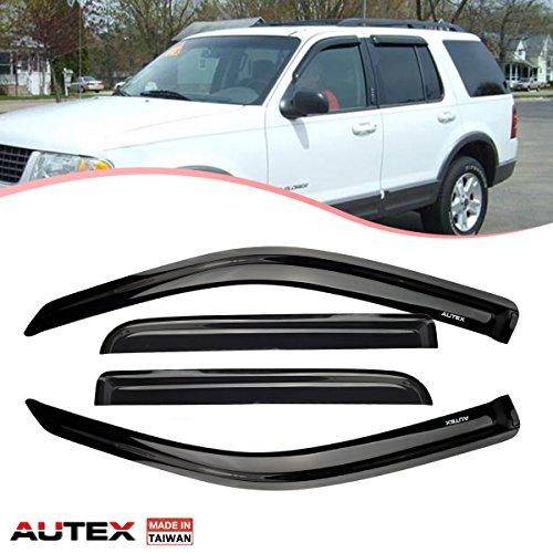 AUTEX 4Pcs Tape On Window Visor Deflector Fits for 2002 2003 2004 2005 2006 2007 2008 2009 2010 Ford Explorer Sun Rain Side ()
