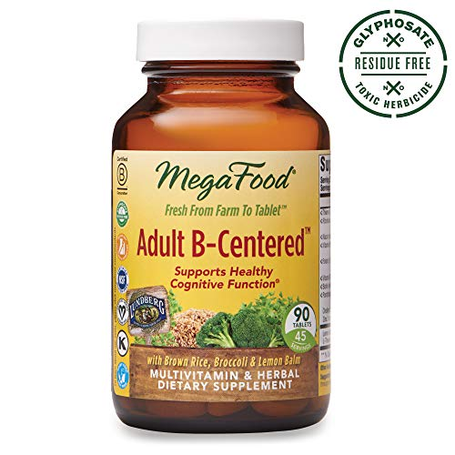 MegaFood, Adult B-Centered, Supports Cognition and Mental Focus, Multivitamin B Complex Supplement with Herbs, Vegan, 90 Tablets (45 Servings)