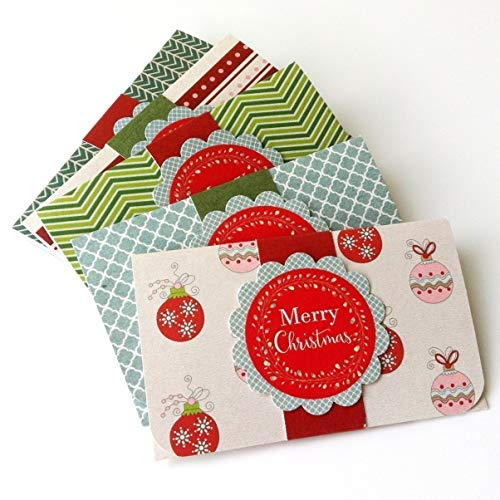 (Christmas Holiday Gift Card or Money Holders - Merry Christmas Check Cash Envelopes - Set of)