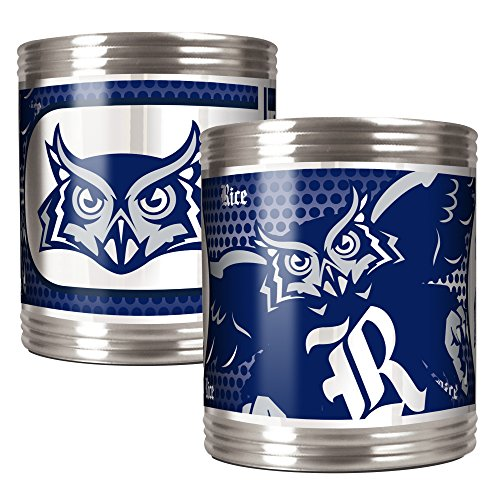 NCAA Rice Owls Stainless Steel Can Holder with Hi-Definition Metallic Graphics Set (2-Piece), Silver