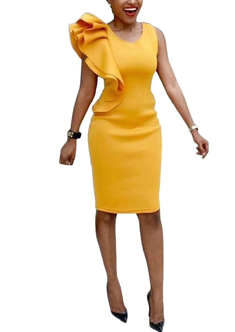 YUNY Womens Banquet Plus Size Tunic Mid Long Falbala Bodycon Dresses Yellow 4XL