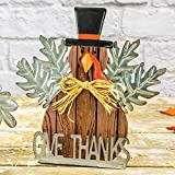 One Holiday Way Rustic Thanksgiving Give Thanks Owl or Turkey Harvest Sign - Tabletop Fall Decoration (Turkey)
