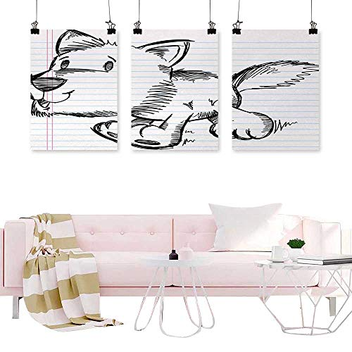 Glifporia Prints Wall Art Doodle,Scribble Artwork of a Running Puppy Dog on a Notebook Page Style Backdrop,Black Pale Blue Pink Art for Living Room Office 3 Pieces]()