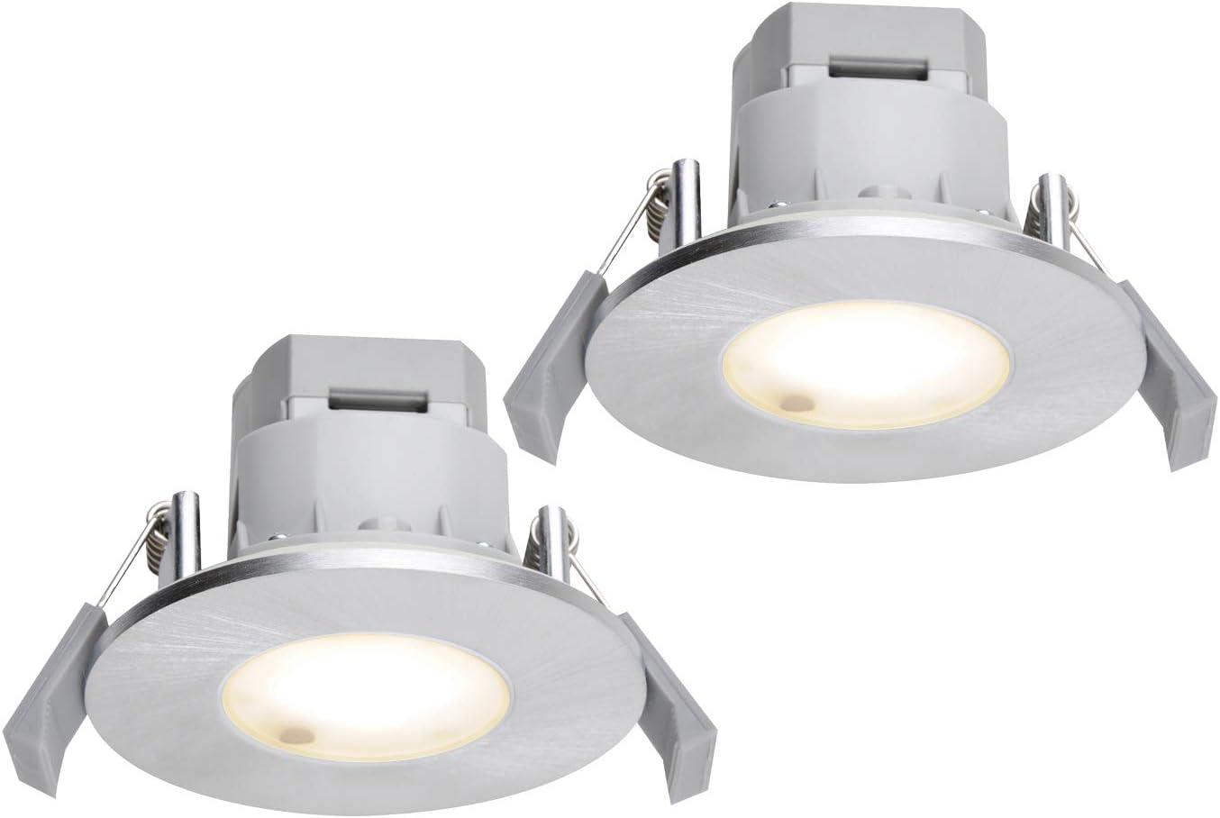 Foco LED empotrable en pack doble redondo Ø 8,5 cm aluminio ...