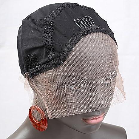 Bella Hair Casquillos Pelucas de Encaje Simple para Pelucas Fabricación Negro Tamaño Pequeño - con Correas
