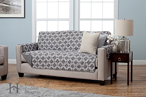 Adalyn Collection Deluxe Reversible Quilted Furniture Protector. Beautiful Print on One Side / Solid Color on the Other for Two Fresh Looks. By Home Fashion Designs Brand. (Sofa / Couch, Charcoal)