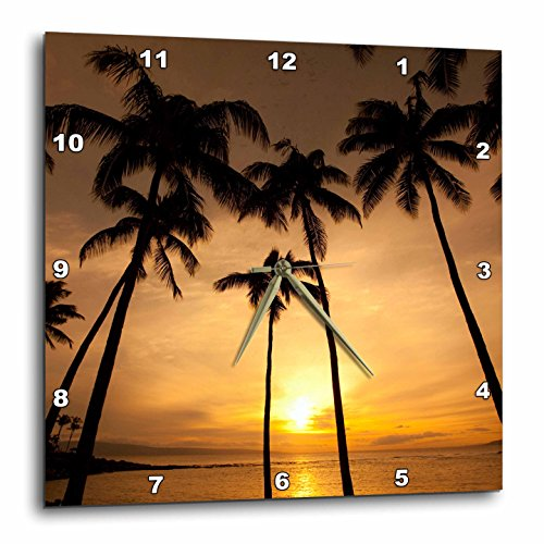 3dRose DPP_89745_2 Hawaii, Kapalua Beach. Sunset and Palm Trees – US12 DPB1667 – Douglas Peebles – Wall Clock, 13 by 13-Inch