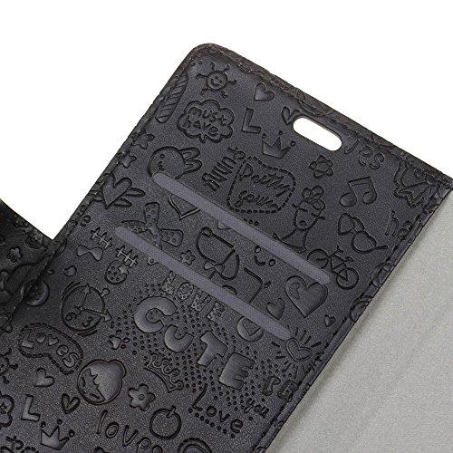 Lusee® PU Caso de cuero sintético Funda para ZTE BLADE A602 Cubierta con funda de silicona botón pequeña bruja negro