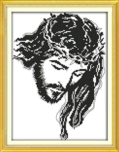 DIY Cross-Stitching with Pre-Printed Patterns for Beginner Kids Adults Cross Stitch Stamped Kits, Embroidery Crafts Needlepoint Starter Kits for Home Decor The Jesus
