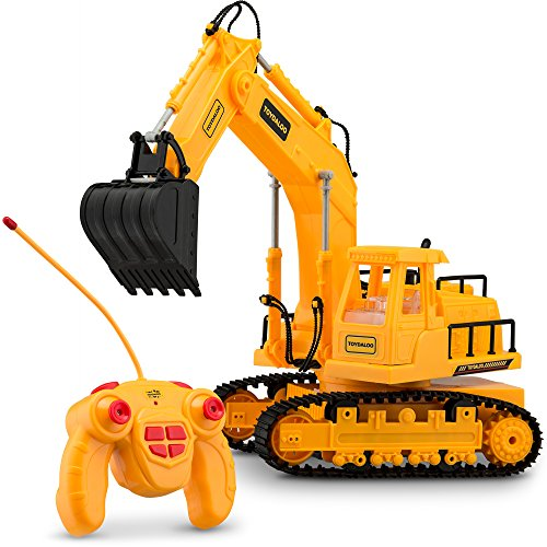 Toydaloo Remote Control Toy Excavator (7 Channel), Fully Functional with Lights and Sounds, Includes RC Transmitter and Battery Charger (Remote Control Excavator compare prices)