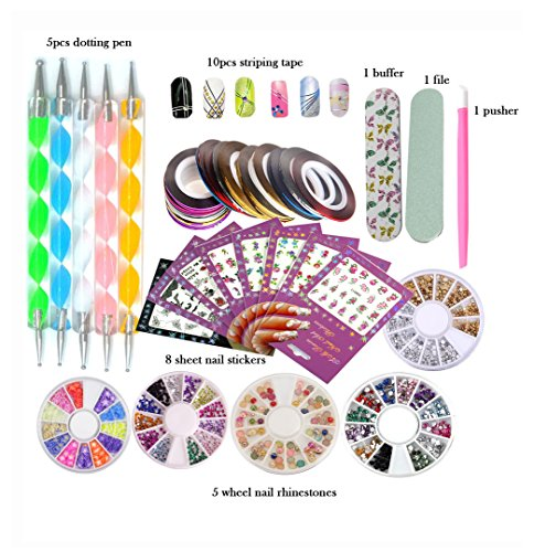 DIY Glitter Nail Rhinestones Decorations Dotting Tool Water Transfer Sticker Decal Striping Line Tape Beauty Accessories Nail Art Set Kit (Style 2)