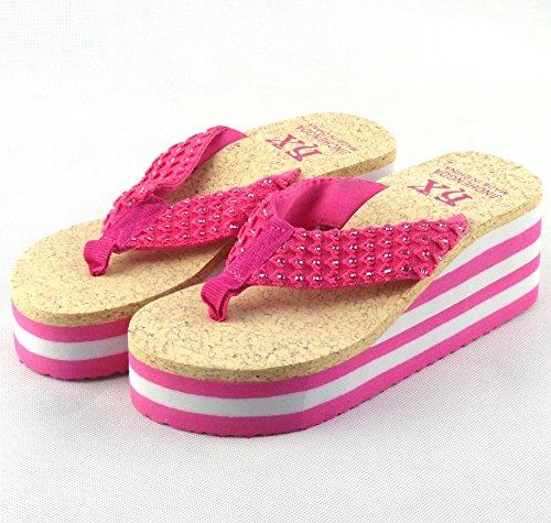 Chfso Moda Donna Leopardato Tessuto Zeppe Da Spiaggia Ciabatte Infradito Sandali Rosa Rosso
