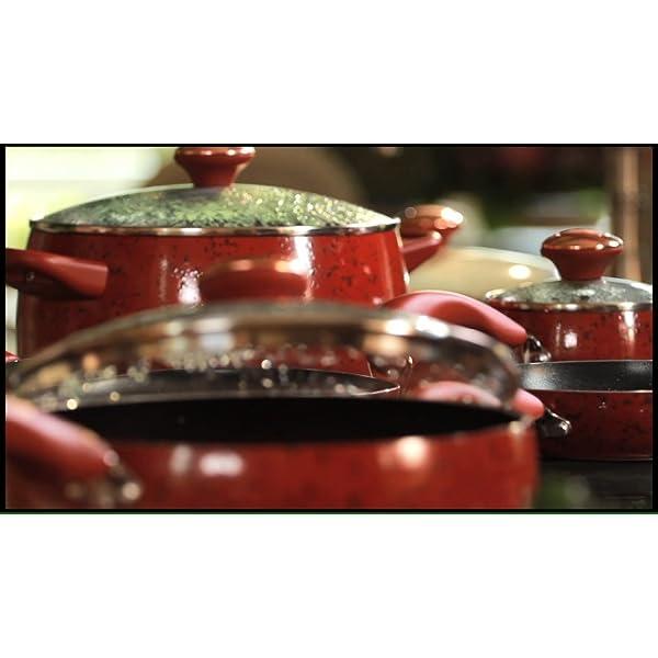 Paula Deen Signature Nonstick Cookware Pots and Pans Set, 15 Piece, Aqua Speckle 7