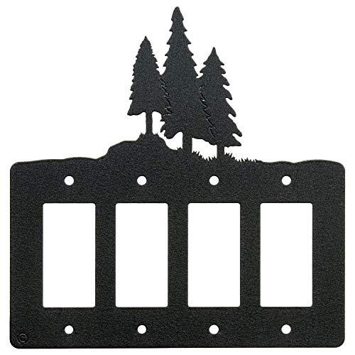 3 Pine Trees Quadruple 4-Gang Rocker Switch - GFCI Power Outlet - Plate ()
