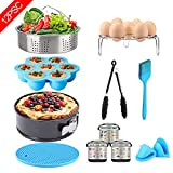 12 Pcs Instant Pot Accessories Set - Fits 6,8Qt, Steamer Basket, Springform Pan, Egg Bites Mold, Egg Steamer Rack, Kitchen Tongs, Oven Mitts, 3 Cheat Sheet Magnets, Silicone Trivet Mat, Barbecue Brush