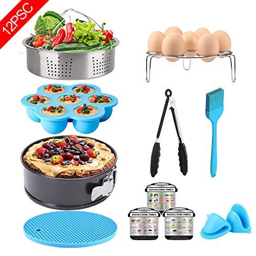 12 Pcs Instant Pot Accessories Set - Fits 6,8Qt, Steamer Basket, Springform Pan, Egg Bites Mold, Egg Steamer Rack, Kitchen Tongs, Oven Mitts, 3 Cheat Sheet Magnets, Silicone Trivet Mat, Barbecue Brush