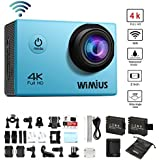 WIMIUS 4K Sports Action Camera Wifi Ultra HD 16MP Waterproof Video Camera 2.0'' 170° Wide Angle Include Waterproof Case,2pcs Batteries and Full Accessories Kits (Q1-Blue)