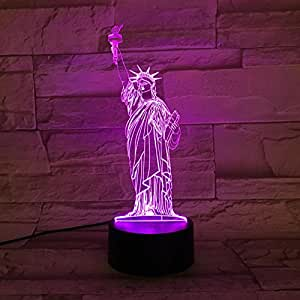 LE3D 3D Optical Illusion Desk Lamp/3D Optical Illusion Night Light, 7 Color LED 3D Lamp, Statue of Liberty 3D LED For Kids and Adults, Liberty Statue Light Up
