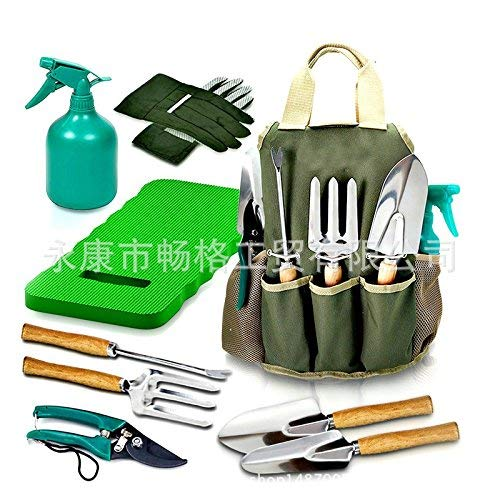 DRILLPRO 9 Piece Garden Tool Set, Gardening Steel Tools All-in-One Tool Bag, Durable Folding Stool, Stainless Steel Hand Tools Kit Bag by DRILLPRO